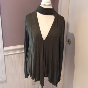 Free people long sleeve army green top
